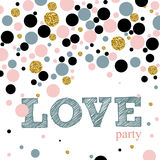 Creative Valentines day cards in pink, gold and white. Vector illustration Stock Photos