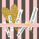 Creative Valentines day cards in pink, gold and white. Vector illustration Stock Images