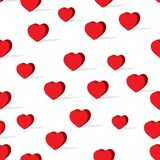 Happy valentine`s day heart pattern. Creative valentines red heart shape pattern on white background design Stock Photography