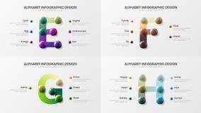 Creative vector alphabet E, F, G, H symbol infographic 3D realistic colorful balls presentation template bundle. Amazing vector alphabet infographic 3D vector illustration