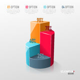 Creative vector colorful 3D pie chart. Can be used for work flow layout, diagram, annual report, web design. Business concept with 4 options, steps or processes Stock Photography