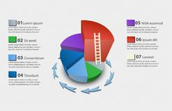 Creative vector colorful 3D pie chart. With a ladder from lowest to highest can be used for work flow layout, diagram, annual report, web design. Business Royalty Free Stock Photo
