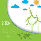Creative vector design regenerative energy  with wind turbines Royalty Free Stock Photo