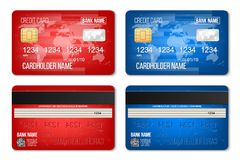 Creative vector illustration of bank plastic credit card set isolated on transparent background. Art design two sides realistic mo. Ckup template. Abstract royalty free illustration