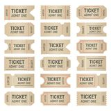 Creative vector illustration of blank shapes of tickets isolated on background. Art design templates for movie, cinema. Concert, events, sports, theatre, party Stock Photography