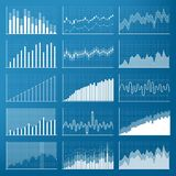 Creative vector illustration of business data financial charts. Finance diagram art design. Growing, falling market stock analysis. Graphics set. Concept Stock Photos