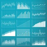 Creative vector illustration of business data financial charts. Finance diagram art design. Growing, falling market. Stock analysis graphics set. Concept Royalty Free Stock Photography