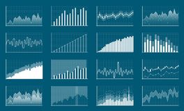 Creative vector illustration of business data financial charts. Finance diagram art design. Growing, falling market. Stock analysis graphics set. Concept Royalty Free Stock Image