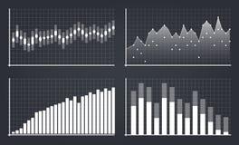 Creative vector illustration of business data financial charts. Finance diagram art design. Growing, falling market. Stock analysis graphics set. Concept Stock Photo