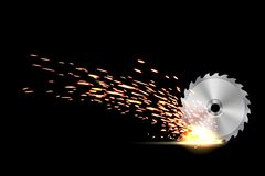 Creative vector illustration of circular saw blade for wood, metal work with welding metal fire sparks isolated on. Transparent background. Art design template royalty free illustration
