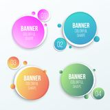 Creative vector illustration of colorful circle text boxes set isolated on background. Overlay colors shape round banners art desi. Gn. Fun label form. Paper stock illustration