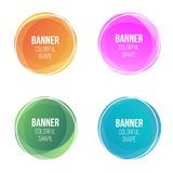 Creative vector illustration of colorful round abstract banners. Overlay colors shape art design. Fun label form. Paper style spot. S. Abstract concept graphic stock illustration