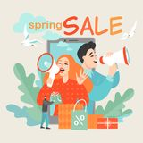 Creative vector illustration concept of online sales and advertising in mobile applications with a couple talking in megaphones. And a man carrying shopping vector illustration