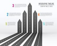 Creative vector illustration of 3D arrow roads map. Art design business and journey infographic. Abstract concept. Graphic element. Diagram, workflow, timeline Stock Photos