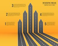 Creative vector illustration of 3D arrow roads map. Art design business and journey infographic. Abstract concept royalty free illustration