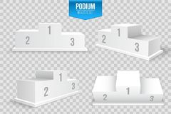 Creative vector illustration of 3d business winners podium in different view isolated on background. Art design pedestal with firs. T, second, third place for Stock Photography