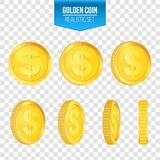Creative vector illustration of 3d gold coins floating in different perspective. Isolated on transparent background. Dollar sign. Realistic money. Art design Stock Images