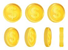 Creative vector illustration of 3d gold coins floating in different perspective. Isolated on transparent background. Dollar sign. Realistic money. Art design Stock Photo