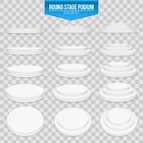 Creative vector illustration of 3d round stage podium set isolated on transparent background. Art design pedestal, platform. stage. Scene. Abstract concept Royalty Free Stock Image