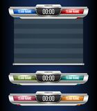 Creative vector illustration digital scoreboard broadcast graphic isolated on transparent background. Art design lower. Thirds template. Abstract concept soccer Stock Photography