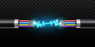 Creative vector illustration of electric glowing lightning between colored break cable, copper wires with circuit sparks. Isolated on transparent background vector illustration