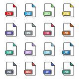 Creative vector illustration of file type icon set isolated on background. Art design flat lable. Document formats. Abstract conce. Pt graphic pictogram element Royalty Free Stock Photography