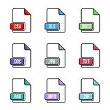 Creative vector illustration of file type icon set isolated on background. Art design flat lable. Document formats. Abstract conce. Pt graphic pictogram element Stock Photos