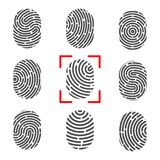 Creative vector illustration of fingerprint. Art design finger print. Security crime sign. Abstract concept graphic element. Thumb. Print id Royalty Free Stock Photos
