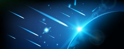 Creative vector illustration of flying cosmic meteor, planetoid, comet, fireball isolated on transparent background. Fire ball art design. Armageddon Royalty Free Stock Images