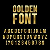 Creative vector illustration of golden glossy font, gold alphabet, metal typeface isolated on transparent background. Art design luxury metallic typographic Stock Photography