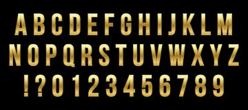 Creative vector illustration of golden glossy font, gold alphabet, metal typeface isolated on transparent background. Art design luxury metallic typographic vector illustration