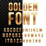 Creative vector illustration of golden glossy font, gold alphabet, metal typeface isolated on transparent background. Art design luxury metallic typographic Royalty Free Stock Photos
