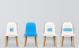 Creative vector illustration of we are hiring - recruiting concept, resources job employment career jobless interview. Chairs isolated on background. Art stock illustration