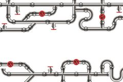 Creative vector illustration of industrial oil, water, gas pipe system and ware pipeline fittings, valves on background. Art design plumbing and taps. Abstract stock illustration