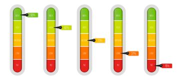 Creative vector illustration of level indicator meter with percentage units isolated on transparent background. Art