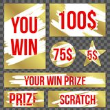 Creative vector illustration of lottery scratch and win game card isolated on background. Coupon luck or lose chance. Art design r. Ipped effect marks. Abstract stock illustration