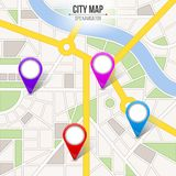 Creative vector illustration of map city. Street road infographic navigation with GPS pin markers and pointers. Art design. City r. Oute and infrastructure Royalty Free Stock Photo