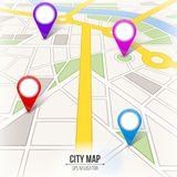 Creative vector illustration of map city. Street road infographic navigation with GPS pin markers and pointers. Art design. City r. Oute and infrastructure Royalty Free Stock Image