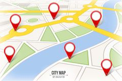 Creative vector illustration of map city. Street road infographic navigation with GPS pin markers and pointers. Art design. City r. Oute and infrastructure Stock Photo