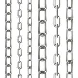 Creative vector illustration of metallic dangling chain links set isolated on background. Art design seamless metal. Abstract conc. Ept graphic element Royalty Free Stock Photo