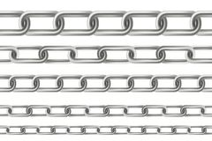 Creative vector illustration of metallic dangling chain links set isolated on background. Art design seamless metal. Abstract conc. Ept graphic element Stock Image