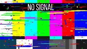 Creative vector illustration of no signal TV test pattern background. Television screen error. SMPTE color bars technical problems. Art design. Abstract stock illustration