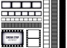 Creative vector illustration of old retro film strip frame set isolated on transparent background. Art design reel cinema filmstri. P template. Abstract concept Stock Photo