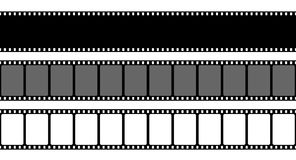 Creative vector illustration of old retro film strip frame set isolated on transparent background. Art design reel. Cinema filmstrip template. Abstract concept Royalty Free Stock Photos