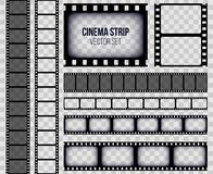 Creative vector illustration of old retro film strip frame set isolated on transparent background. Art design reel cinema filmstri. P template. Abstract concept Royalty Free Stock Photography