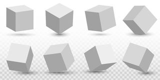 Creative vector illustration of perspective projections 3d cube model icons set with a shadow isolated on transparent. Background. Art design geometric surfac Stock Photography