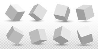 Creative vector illustration of perspective projections 3d cube model icons set with a shadow isolated on transparent. Background. Art design geometric surfac Stock Images