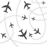 Creative vector illustration of plane with dashed path lines isolated on background. Art design airplane sky route. Abstract concept graphic element for air Stock Photo
