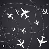 Creative vector illustration of plane with dashed path lines isolated on background. Art design airplane sky route. Abstract concept graphic element for air Vector Illustration