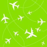 Creative vector illustration of plane with dashed path lines isolated on background. Art design airplane sky route. Abstract concept graphic element for air Stock Image